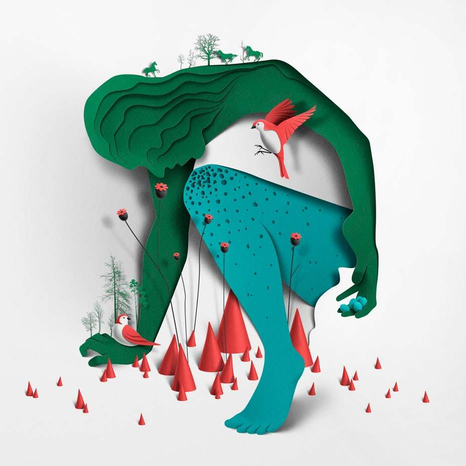 Papercut illustrations by Eiko Ojala manage to feel both futuristic and retro at the same time.